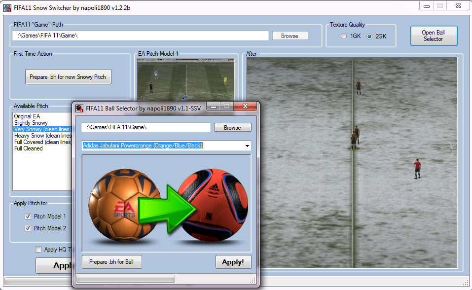Скачать FIFA 11 Snow Switcher & Ball Selector 2011 / English Simulation